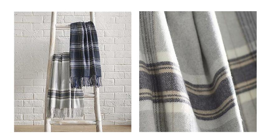 lambswool plaid throw blanket