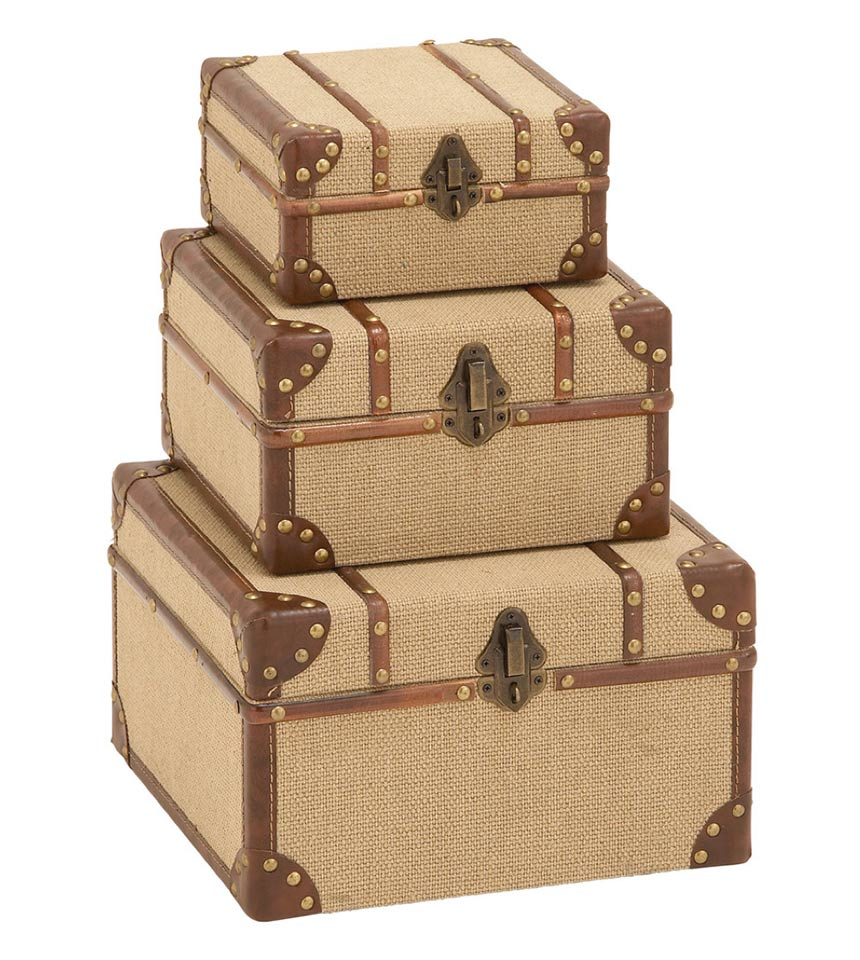 ABC HomeCollection - vintage burlap luggage trunks