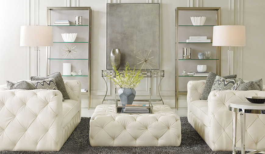 Bernhardt white and silver glam livingroom