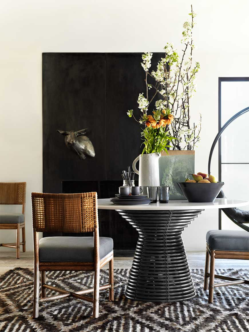 Minna table in black by McGuire Furniture