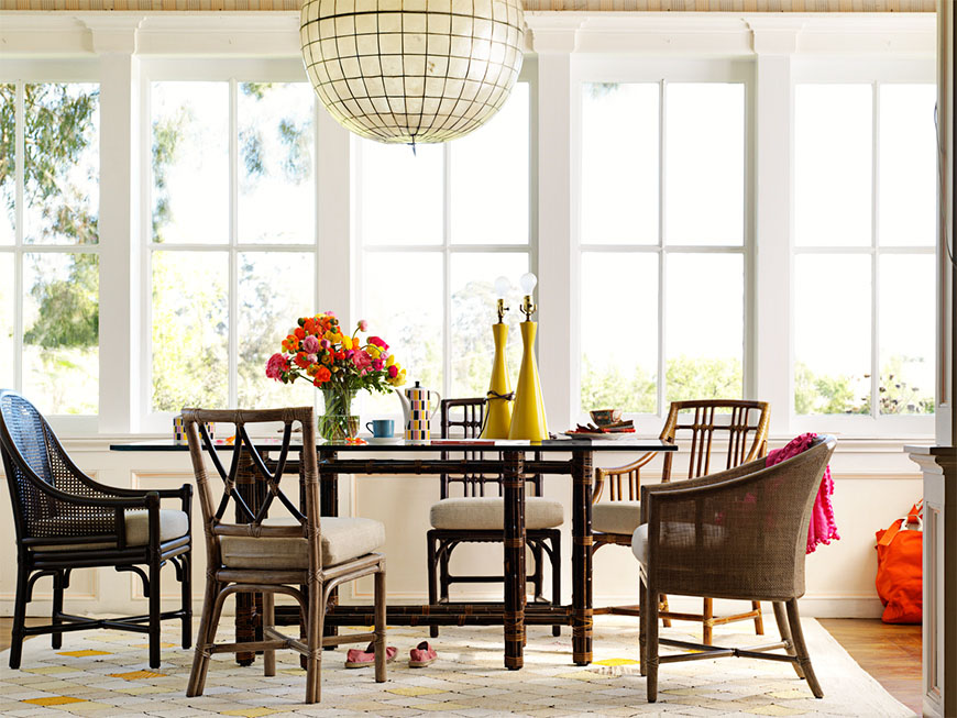 McGuire dining room with mix-matched chairs