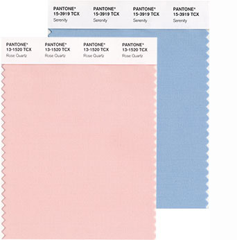 Pantone Rose Quartz and Serenity colour swatches