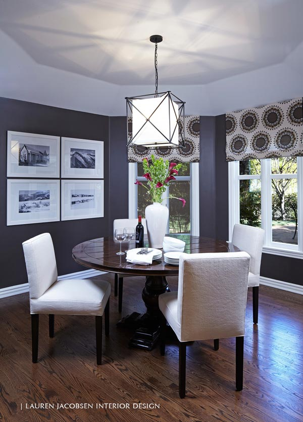 Dining room with dark walls