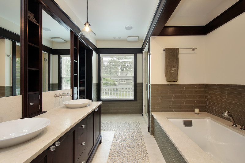 neutral color lavatory with dark trim