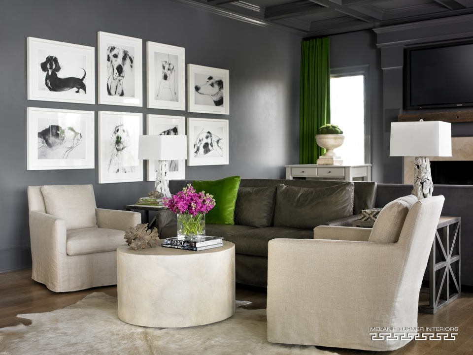 Cool dog sketches in livingroom
