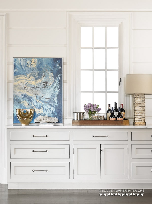 Melanie Turner Interiors' cool abstract painting on console