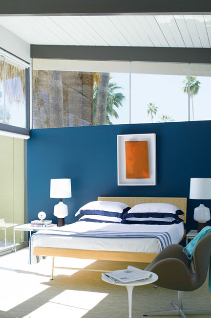 Benjamin Moore cool royal  blue bedroom
