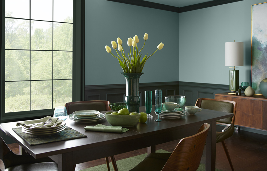 Blue-green dining room color from Behr Paint
