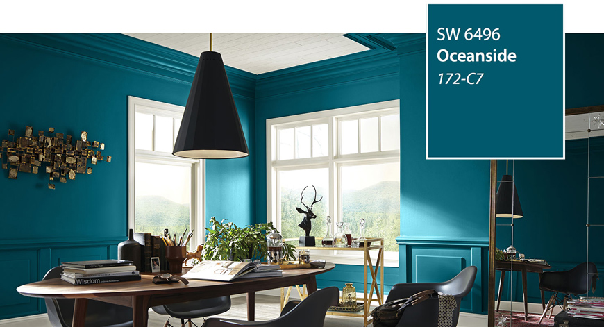 Oceanside, from Sherwin Williams. A rich and vibrant blue  home office