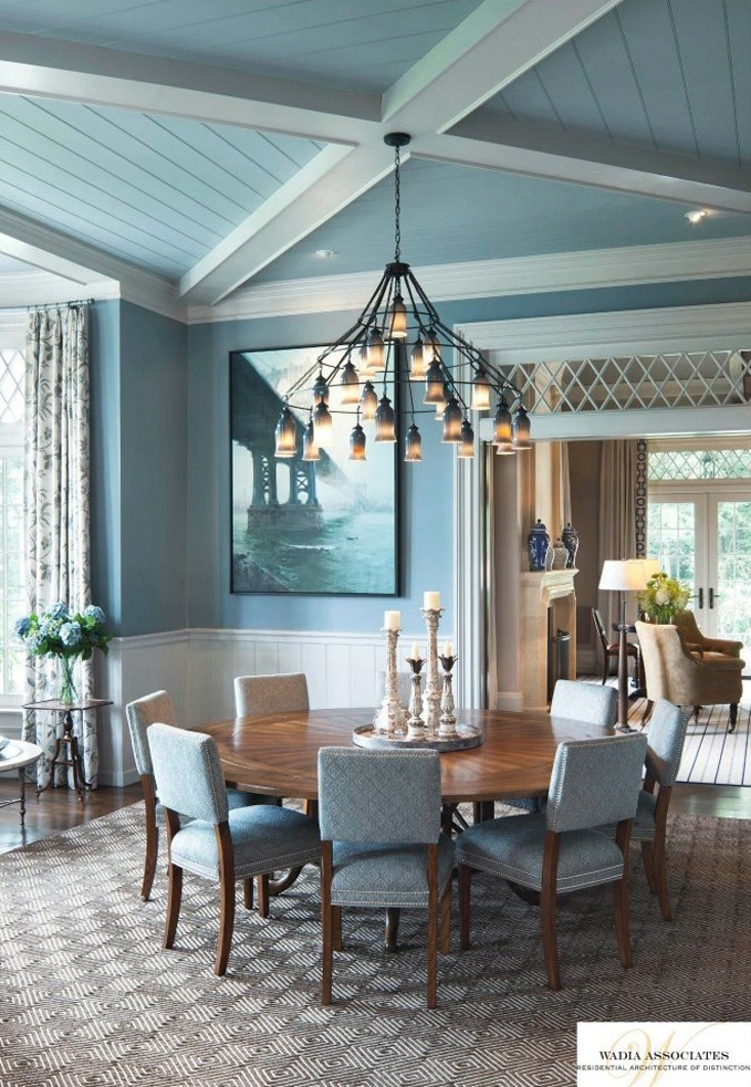 Statement ceilings whether wallpaper or wood. Make it special. Rob Lominski, Project Architect,  Wadia Associates. Cindy Rinfret, Rinfret, Ltd. Interior Design and Decoration