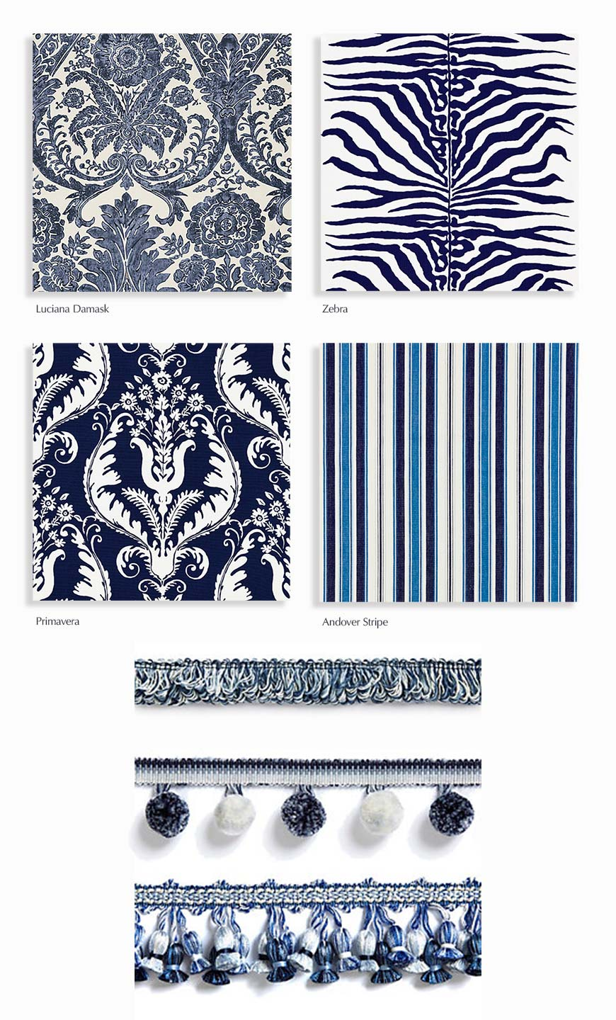 Scalamandré fabrics and trims in blue and white