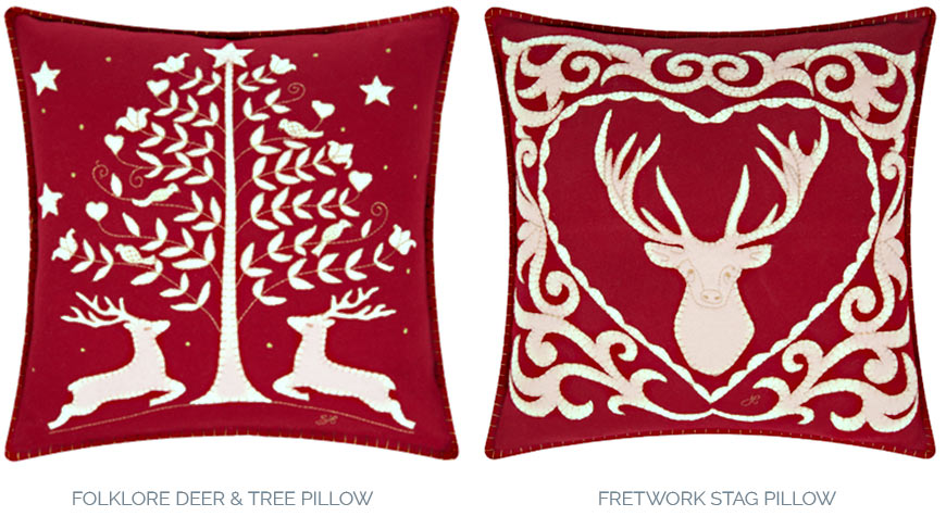 Amara folklore deer & tree FRETWORK STAG PILLOWs