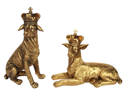 Amara Gold Dogs with Crowns ornaments