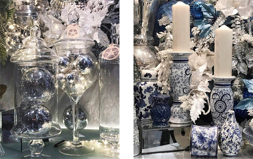 Shinoda Holiday decorations in blue, white, and silver