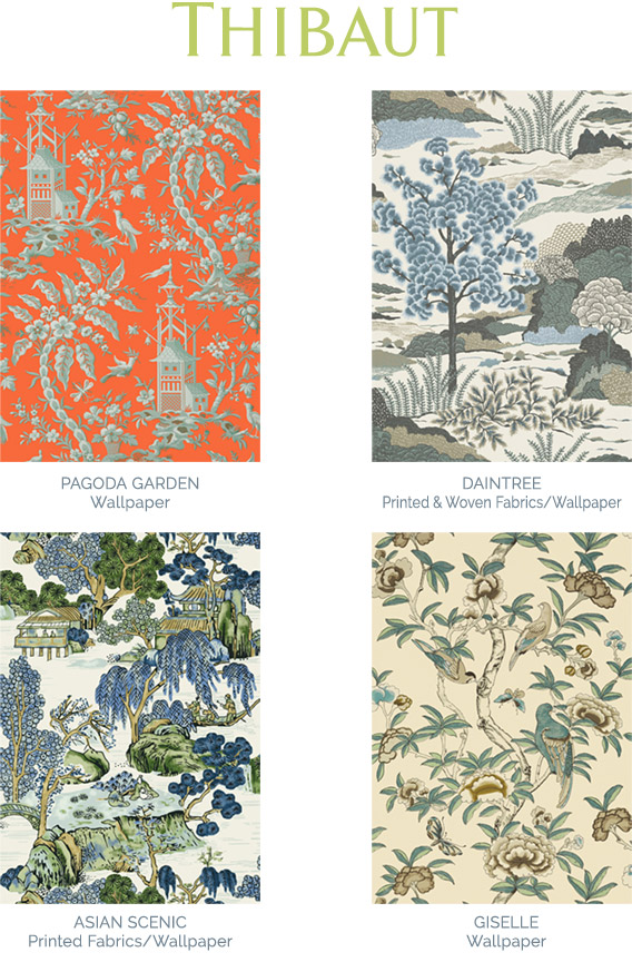 Thibaut Chinese inspired fabric swatches