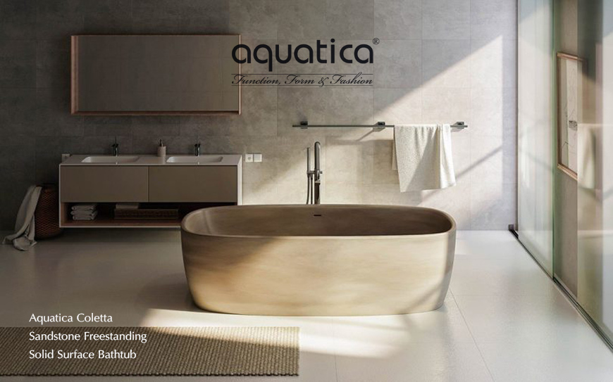 Aquatica colletta concrete freestanding bathtub