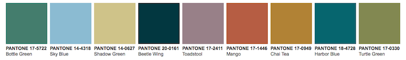 Pantone color trend palette for 2020