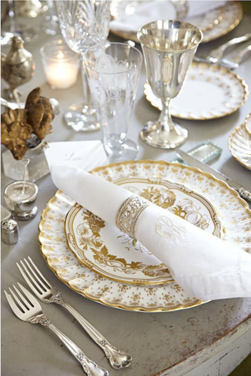 Lisa Luby Ryan gold and crystal holiday table setting