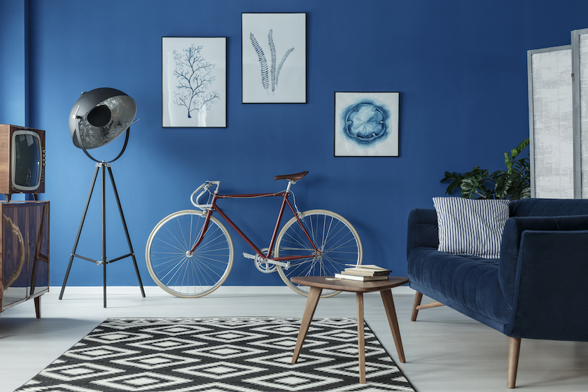 Classic Blue living room with 10-speed bike