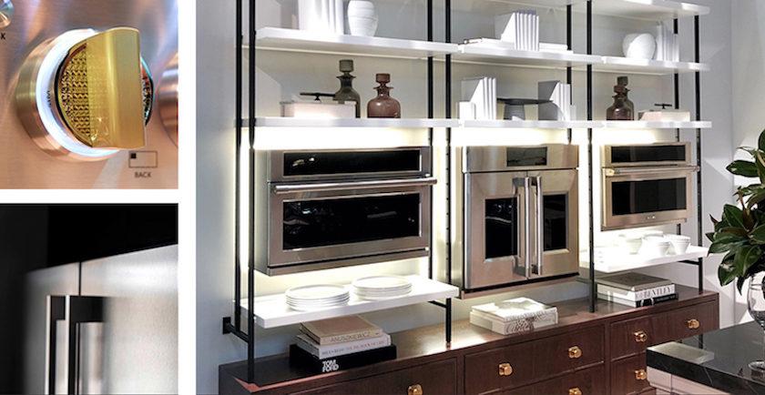 Monogram bookshelf kitchen appliances wall unit