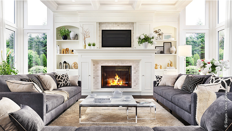 Luxurious interior design living room and fireplace in a beautiful house – Slavun photo at Adobe Stock