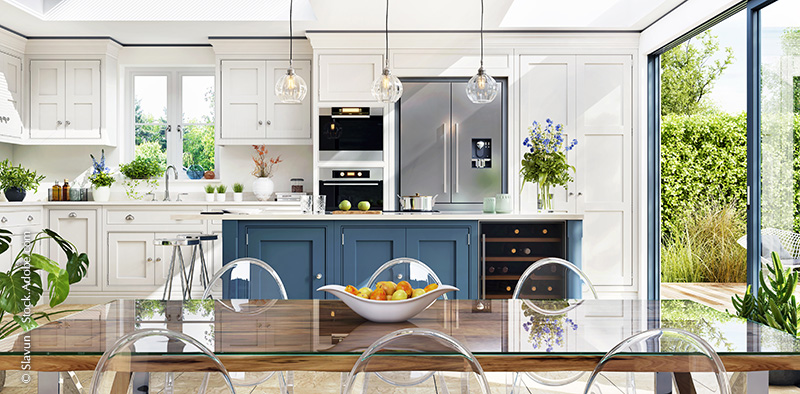 Open plan kitchen and diner to garden in modern terrace – Slavun at Adobe Stock
