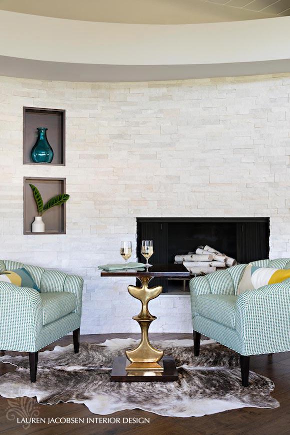 Living room fireplace design by Lauren Jacobsen