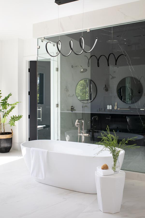 Lauren Jacobsen Interior Design, modern farmhouse, master bathroom tub