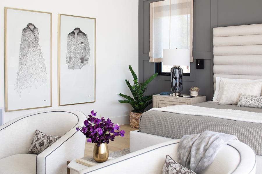 Lauren Jacobsen Interior Design, modern farmhouse, master bedroom artwork