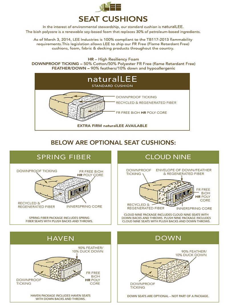 Lee Industries naturalLEE cushion construction
